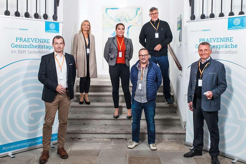 Gesundheitsexpertinnen und -experten erörterten beim PRAEVENIRE Gipfelgespräch das Thema FPHI-MS: v. l.: Roland Söllner, Gunda Gittler, Doris Hauer, Michael Guger, Bernhard Rupp und Reinhold Glehr
