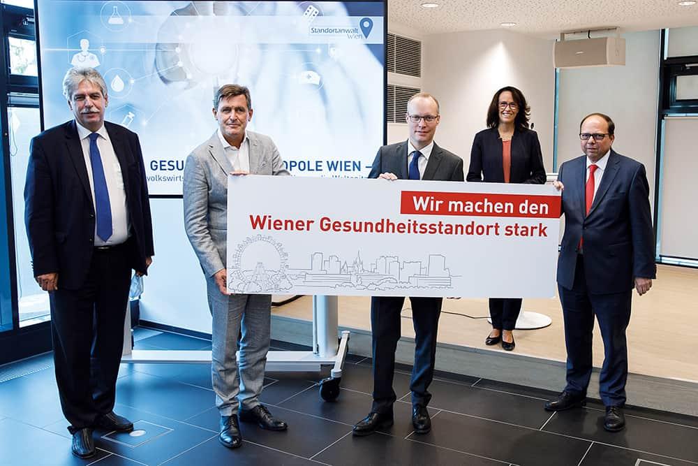 v.l.: Hans Jörg Schelling, Peter Hanke, Alexander Biach, Kasia Greco und Thomas Szekeres wollen Wien zur internationalen Innovationsdrehscheibe machen.
