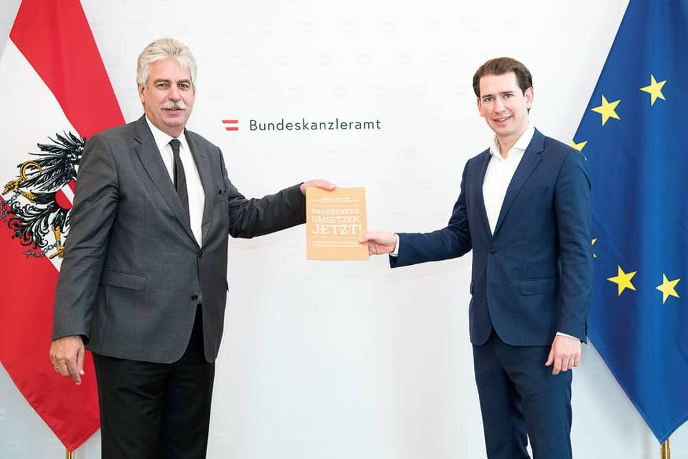 Politische Handlungsempfehlungen: PRAEVENIRE Präsident Hans Jörg Schelling übergibt das Weißbuch an Bundeskanzler Sebastian Kurz